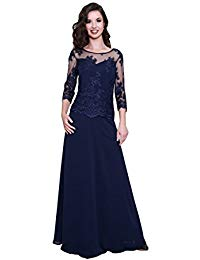 Chiffon Full Length Mother Of The Bride Dress With Sleeves