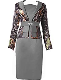 Cocktail Mother of The Bride Dresses Camo with Long Sleeves Jacket
