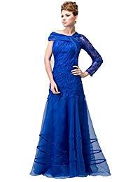 Elegant Organza One Shoulder Long Sleeve Side A-line Mother of Bride Dress