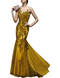 Elegant Sheer Neck Evening Dress Lace Mermaid Formal Gown PMD17