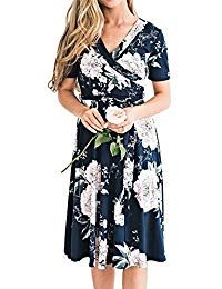 Floral Bridesmaid Dresses V Neck Short Sleeve Wrap Midi Dress with Belt