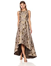 Hi Low Jacquard Gown with Boat Neckline