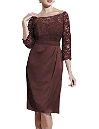 Lace Knee Length Mother of The Bride Dresses with 3-4 Sleeves