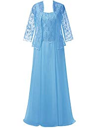 Lace Mother of The Birde Dress with Jacket Two Pieces Chiffon Evening Party Gown for Wedding