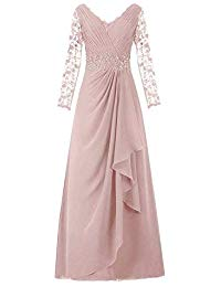Long Lace Sleeves Chiffon Mother of The Bride Dress Long Prom Evening Party Gowns
