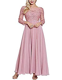 Long Sleeve Chiffon Mother of Bride Dress Lace Pleated Evening Gown