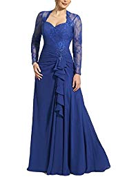 Long Sleeve Mother of the Bride Dresses Lace Evening Gowns 67MD
