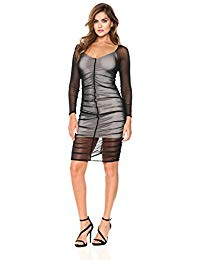 Long Sleeve Sheer Mesh Ruched Cocktail Dress