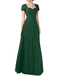 Long Tulle Formal Mother Of The Bride Gown Short Sleeves Evening Dress