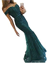 Mermaid Evening Dresses for Formal Off Shoulder Lace Plus Size 97