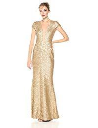 Michelle Cap Sleeve Sequin Long Gown