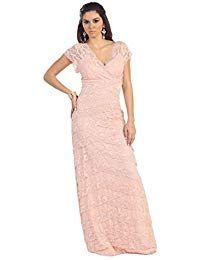 Midi Short Sleeve Lace Long Formal Gown