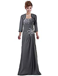 Modest Sheath Mother the Bride Dress Jacket Beaded Mother Gown