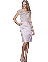 Newdeve Beading Lace Round Neck Mother of the Bride Dress Tea Length