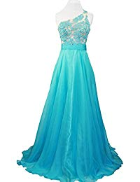 One Shoulder Lace Sheer Top Prom Pageant Formal Dress