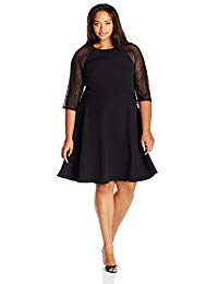 Plus Size 3-4 Sleeve Round Neck Crepe Fit & Flare Dress