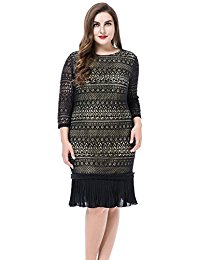 Plus Size Contrast Lined Lace Dress with Pleated Hem - Knee Length Work Casual Party Cocktail Dress