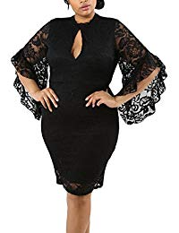 Plus Size Lace Flare Bell Sleeves Bodycon Cocktail Party Dress