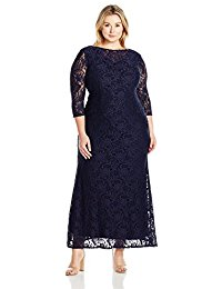 Plus Size Long Lace Dress with Illusion Neckline and Sleeves