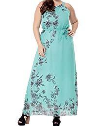 Plus Size Sleeveless Flowers Print Tied Belt Maxi Long Dress 1X-6X