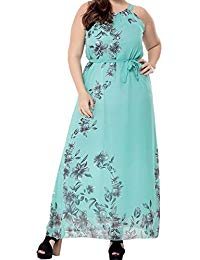 Plus Size Sleeveless Flowers Print Tied Belt Maxi Long Dress 1X-6X
