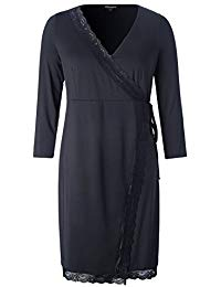 Plus Size Stretch Crossover Wrap Dress with Lace Fastening