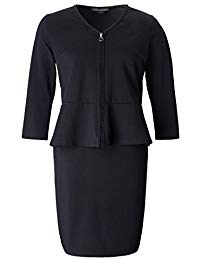 Plus Size Stretch Zip Front 2 in 1 Set Peplum Dress with Trim - Knee Length Work and Casual Dress