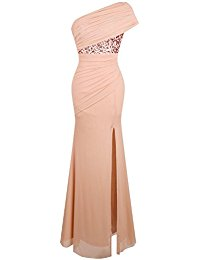 Ruched One Shoulder Sequin Split Wrap Formal Evening Dress
