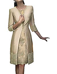 Satin Knee-Length Lace Applique Two Pieces Long Jacket Mother of Bride Dress