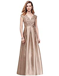 Scalloped Lace and Mikado V-Neck Ball Mother of Bride-Groom Gown Style B1709781