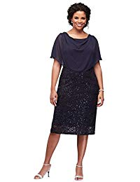 Sequin Lace Plus Size Short Mother of Bride-Groom Dress with Capelet Style.