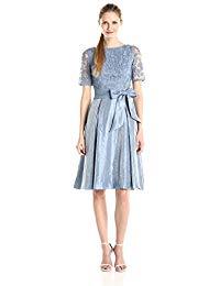Shimmer Side Panel Tuck Lace Bodice Dress