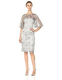 Short Metallic Lace Dress with Flared Sleeve
