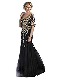 Short Sleeve Mermaid Lace Mother of the Bride Evening Gown
