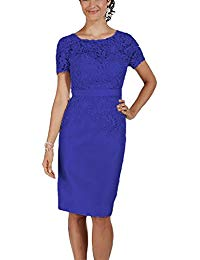 Short Sleeves Knee-Length Mother of the Bride Dresses Lace Evening Gowns