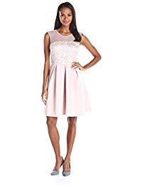 Sleeveless Illusion Metallic Fit-and-Flare Dress