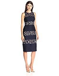 Sleeveless Round Neck Midi Lace Sheath Dress