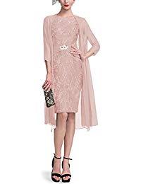 Spring Knee Length Mother of The Bride Dress High Neckline Jacket Long Sleeve Formal Dress