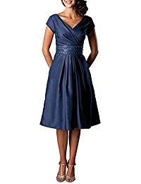 V-Neck Bridesmaid Dress Waist Beaded Short Taffeta Formal Mother of Bride Dress