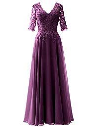 V Neck Evening Formal Gown Half Sleeves Mother of Bride Dress