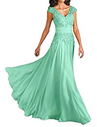 V-Neck Long Chiffon Mother of Bride Dresses with Lace Appliques