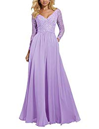 V Neck Prom Dress Formal Long Sleeve Lace Ruffled Chiffon Mother of Bride Dresses