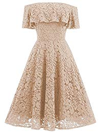 Vintage Floral Lace Off The Shoulder Cocktail Party Swing Dress Knee Length