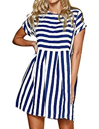 Vintage Holiday Casual Loose Short Sleeve Bohemian Striped Ladies Summer Beach Mini Swing Sundress