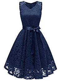 Vintage V-Neck Floral Lace Short Prom Cocktail Party Dresses with Sash