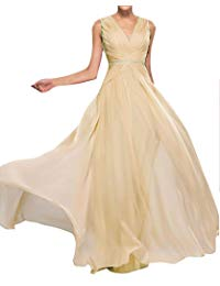 Woman's Ruched Mother of The Bride Dresses Chiffon V Neck