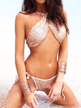 Choker Bling Sequins Bikini Set