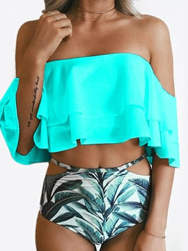 Cute Falbala Off-the-Shoulder Leaf Print Tankini Set