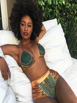 Dashiki African Print High Waist Lace-up Hollow Bikini Set