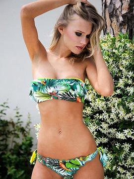 Fresh Banana Leaf Print Polyester Bikini Set